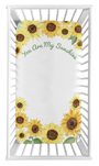Yellow, Green and White Sunflower Boho Floral Girl Baby or Toddler Nursery Fitted Crib Sheet by Sweet Jojo Designs - Farmhouse Watercolor Flower, You Are My Sunshine