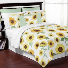 Yellow, Green and White Sunflower Boho Floral Girl Full / Queen Size Kid Childrens Bedding Comforter Set by Sweet Jojo Designs - 3 pieces - Farmhouse Watercolor Flower