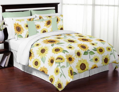 Yellow, Green and White Sunflower Boho Floral Girl Full / Queen Size Kid Childrens Bedding Comforter Set by Sweet Jojo Designs - 3 pieces - Farmhouse Watercolor Flower - Click to enlarge