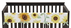 Yellow, Green and White Sunflower Boho Floral Girl Long Front Crib Rail Guard Baby Teething Cover Protector Wrap by Sweet Jojo Designs - Farmhouse Watercolor Flower