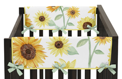 Yellow, Green and White Sunflower Boho Floral Girl Side Crib Rail Guards Baby Teething Cover Protector Wrap by Sweet Jojo Designs - Set of 2 - Farmhouse Watercolor Flower