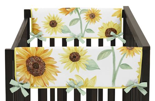Yellow, Green and White Sunflower Boho Floral Girl Side Crib Rail Guards Baby Teething Cover Protector Wrap by Sweet Jojo Designs - Set of 2 - Farmhouse Watercolor Flower - Click to enlarge