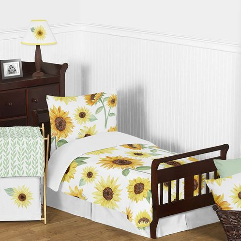 Yellow, Green and White Sunflower Boho Floral Girl Toddler Kid Childrens Comforter Bedding Set by Sweet Jojo Designs - 5 pieces Comforter, Sham and Sheets - Farmhouse Watercolor Flower - Click to enlarge