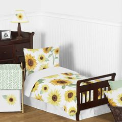 Yellow, Green and White Sunflower Boho Floral Girl Toddler Kid Childrens Comforter Bedding Set by Sweet Jojo Designs - 5 pieces Comforter, Sham and Sheets - Farmhouse Watercolor Flower