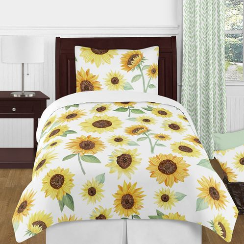 Yellow, Green and White Sunflower Boho Floral Girl Twin Size Kid Childrens Bedding Comforter Set by Sweet Jojo Designs - 4 pieces - Farmhouse Watercolor Flower - Click to enlarge