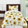 Yellow, Green and White Sunflower Boho Floral Girl Twin Size Kid Childrens Bedding Comforter Set by Sweet Jojo Designs - 4 pieces - Farmhouse Watercolor Flower