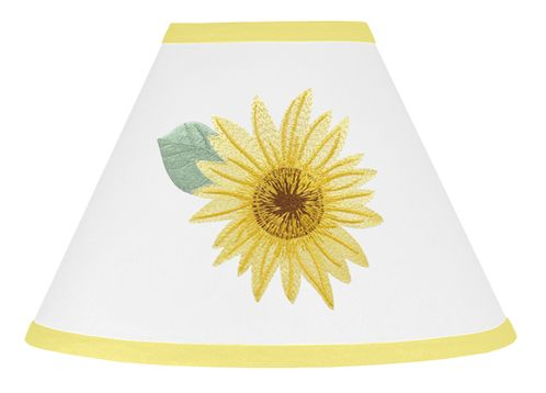 Yellow, Green and White Sunflower Boho Floral Lamp Shade by Sweet Jojo Designs - Farmhouse Watercolor Flower - Click to enlarge