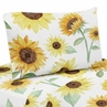 Yellow, Green and White Sunflower Boho Floral Queen Sheet Set by Sweet Jojo Designs - 4 piece set - Farmhouse Watercolor Flower