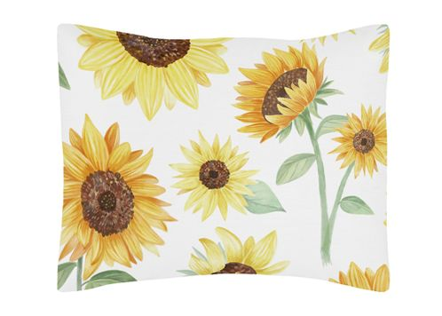 Yellow, Green and White Sunflower Boho Floral Standard Pillow Sham by Sweet Jojo Designs - Farmhouse Watercolor Flower - Click to enlarge