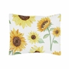Yellow, Green and White Sunflower Boho Floral Standard Pillow Sham by Sweet Jojo Designs - Farmhouse Watercolor Flower