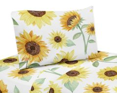 Yellow, Green and White Sunflower Boho Floral Twin Sheet Set by Sweet Jojo Designs - 3 piece set - Farmhouse Watercolor Flower