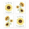 Yellow, Green and White Sunflower Boho Floral Wall Art Prints Room Decor for Baby, Nursery, and Kids by Sweet Jojo Designs - Set of 4 - Farmhouse Watercolor Flower, You Are My Sunshine
