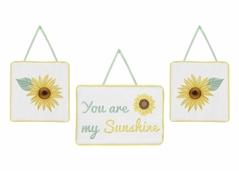 Yellow, Green and White Sunflower Boho Floral Wall Hanging Decor by Sweet Jojo Designs - Set of 3 - Farmhouse Watercolor Flower
