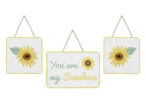 Yellow, Green and White Sunflower Boho Floral Wall Hanging Decor by Sweet Jojo Designs - Set of 3 - Farmhouse Watercolor Flower - Click to enlarge