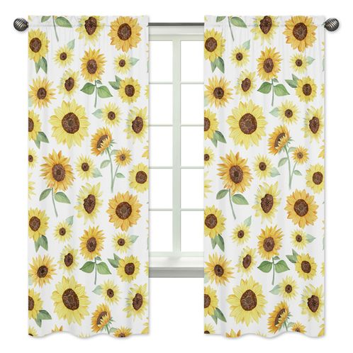 Yellow, Green and White Sunflower Boho Floral Window Treatment Panels Curtains by Sweet Jojo Designs - Set of 2 - Farmhouse Watercolor Flower - Click to enlarge