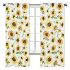 Yellow, Green and White Sunflower Boho Floral Window Treatment Panels Curtains by Sweet Jojo Designs - Set of 2 - Farmhouse Watercolor Flower