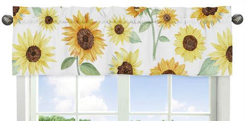 Yellow, Green and White Sunflower Boho Floral Window Treatment Valance by Sweet Jojo Designs - Farmhouse Watercolor Flower - Click to enlarge