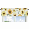 Yellow, Green and White Sunflower Boho Floral Window Treatment Valance by Sweet Jojo Designs - Farmhouse Watercolor Flower