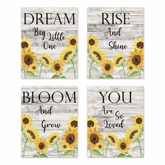 Yellow Sunflower Boho Floral Wall Art Prints Room Decor for Baby, Nursery, and Kids by Sweet Jojo Designs - Set of 4 - Farmhouse Wood Grain Rustic Watercolor Flower Vintage Southern Country