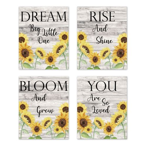 Yellow Sunflower Boho Floral Wall Art Prints Room Decor for Baby, Nursery, and Kids by Sweet Jojo Designs - Set of 4 - Farmhouse Wood Grain Rustic Watercolor Flower Vintage Southern Country - Click to enlarge