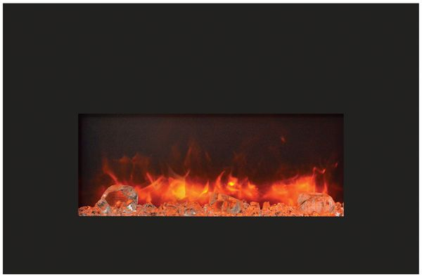 Amantii 26 Inch Electric Fireplace Insert With Black Glass Surround