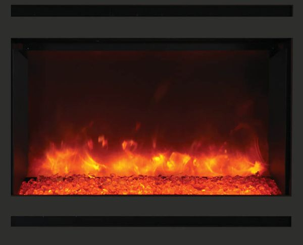 Incredible Amantii 30 Inch Zero Clearance Electric Fireplace With Black Glass Surround And Log Set Beutiful Home Inspiration Xortanetmahrainfo