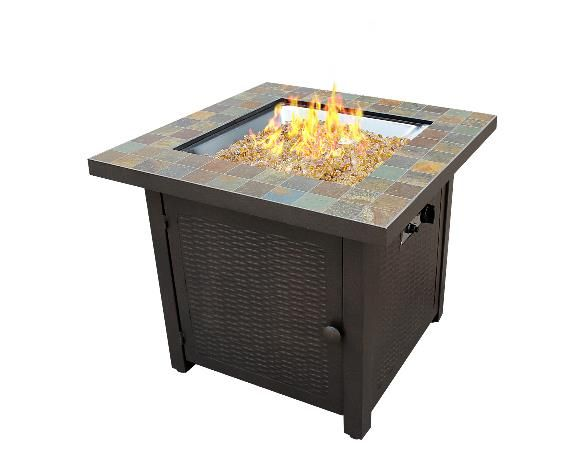 Dayva International 30 Inch Square Fire Pit Table With