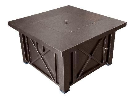 Dayva International 38 Inch Square Decorative Fire Pit Table With Hammered Bronze Finish