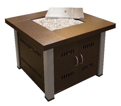 Dayva International 38 Inch Square Fire Pit Table With Hammered Bronze And Stainless Steel Finish