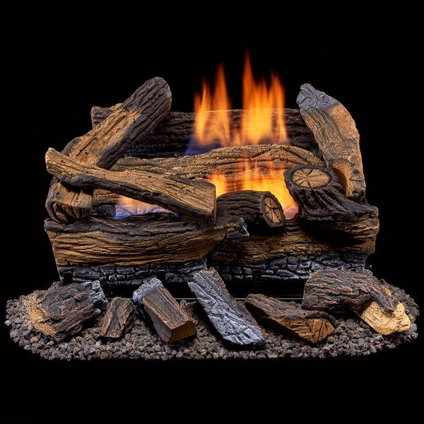 Duluth Forge 18 Inch Split Red Oak Vent Free Dual Fuel Gas Logs Set Remote Control