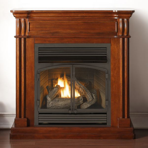 zero clearance gas fireplace wood burning duluth forge 295 inch dual fuel vent free zeroclearance gas fireplace with mantel autumn spice finish