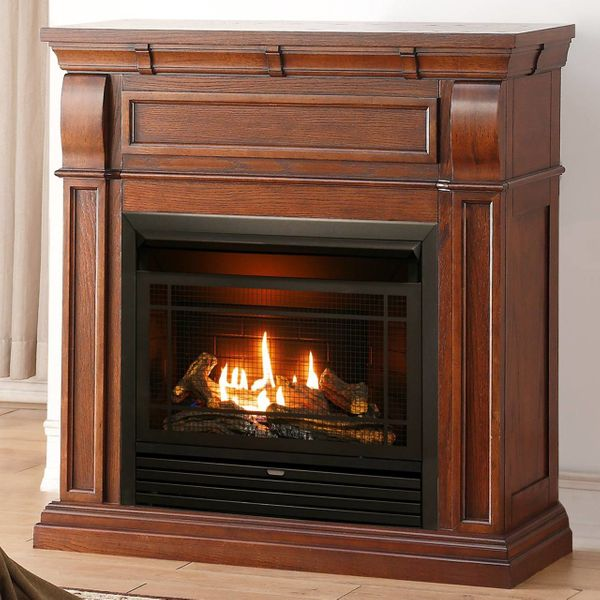 Dual Fuel Free Fireplace Finish Vent With Inch Gas Duluth Forge 29 Mantel Oak Chestnut K1J3lFcT