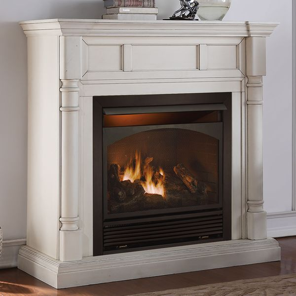 Duluth Forge 36 Inch Full Size Dual Fuel Vent Free Fireplace With Mantel Antique White Finish 6 Jpg