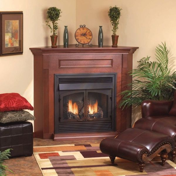 Empire Embc11s Corner Wooden Mantel Cabinet With Base For 26 Vail Fireplaces Embc 11s W