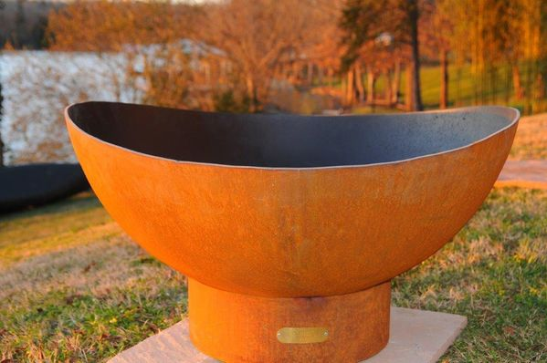 Fire Pit Art Scallops Gas Burning Fire Bowl