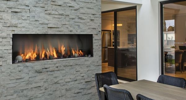 Linear Gas Fireplace >> Kingsman 48 Inch Single Sided Barbara Jean Series Outdoor Linear Gas Fireplace
