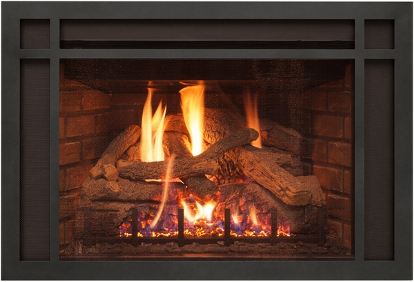 Real Fyre Black Mission Frame Overlay For Dvi 25 Series Direct Vent Gas Fireplace Inserts