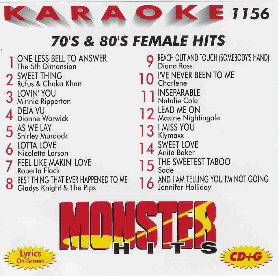 70�s & 80�s FEMALE HITS  Monster Hits  MH 1156