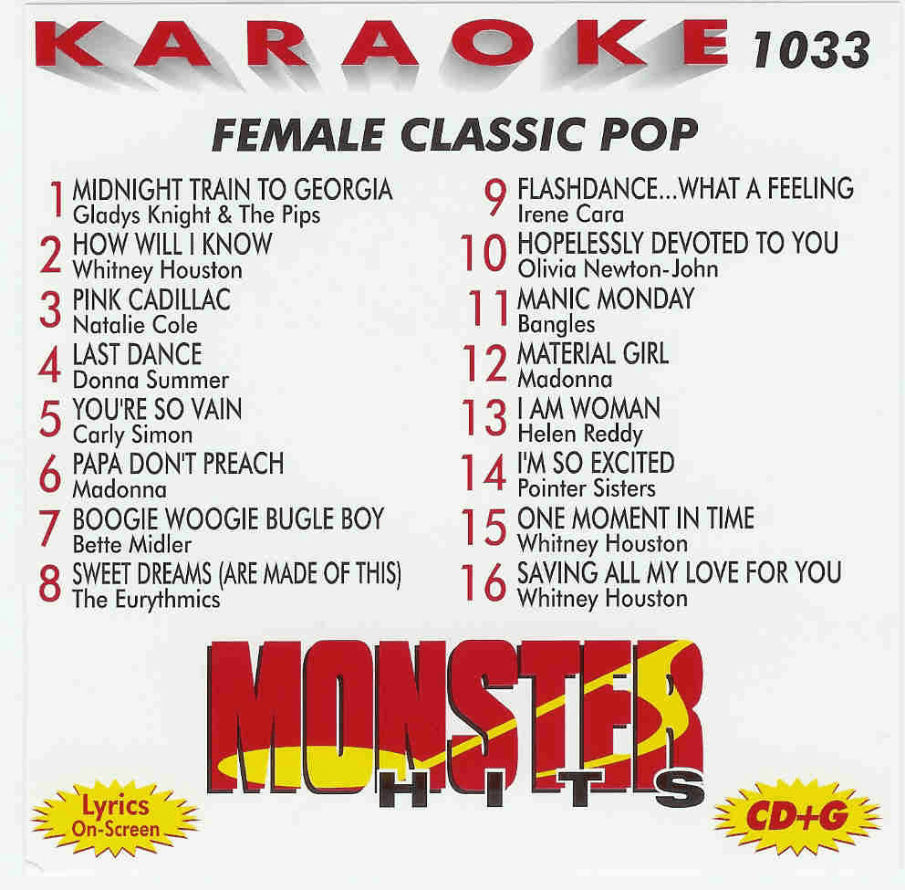 FEMALE CLASSIC POP    Monster Hits   MH 1033