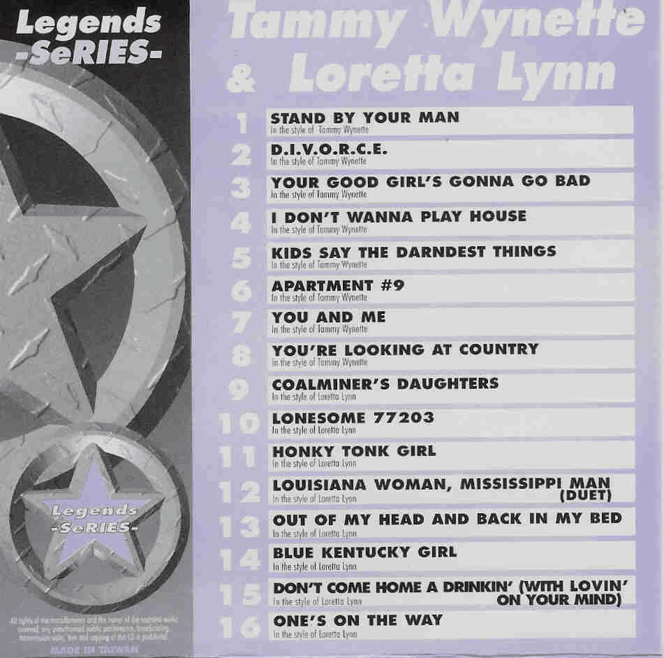 TAMMY WYNETTE & LORETTA LYNN      Legends Series   LG 044
