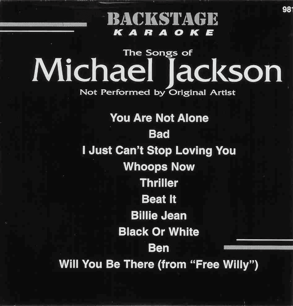 THE SONGS OF MICHAEL JACKSON     Backstage Karaoke    9817