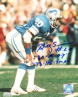 Billy Sims Signed 8x10 Photo