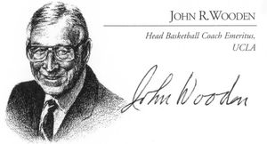 John Wooden Signed Business Card