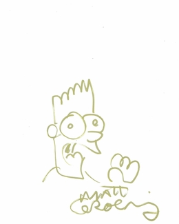 Matt Groening Signed 8.5x11 Sketch
