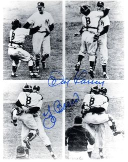 Yogi Berra & Don Larsen Signed 4x5 Photo