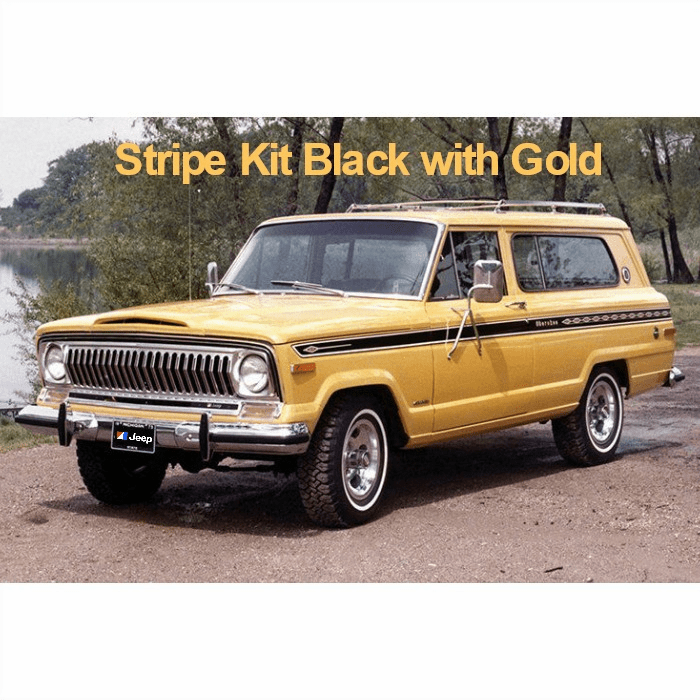 7576JCS-BLK Decal Set 1975-1976 Jeep Cherokee S Stripe Kit Black with Gold