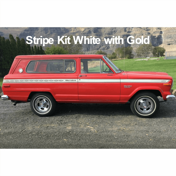 7576JCS-WHT Decal Set 1975-1976 Jeep Cherokee S Stripe Kit White with Gold