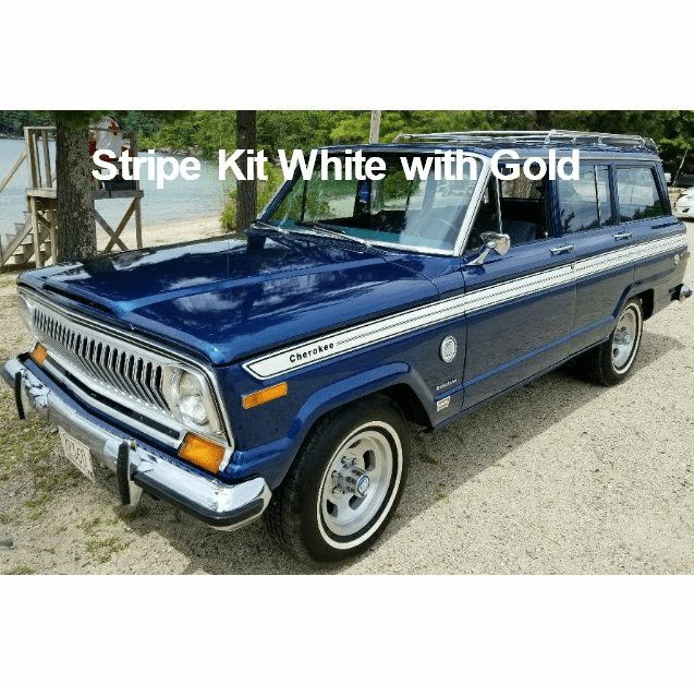 7778JCS-WHT Decal Set 1977-1978 Jeep Cherokee S Stripe Kit White with Gold