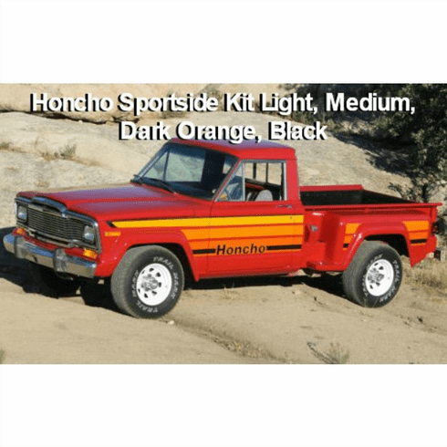 7980HCHOS-ORANGE Decal Set 1979-1980 Jeep J10 Honcho Sportside Truck Orange Stripe Kit (4-color)