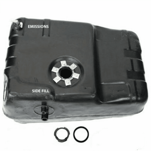 0012 Plastic Gas Tank for 1978-1979 Jeep J10, J20 Trucks, Filler and Vent Hoses Attach to the Side of Gas Tank
